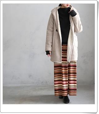 暖かいパンツ付きスカートで、あったか冬コーデ